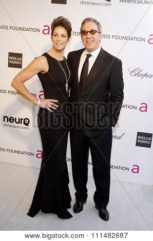 Tim Allen and Jane Hajduk at the 21st Annual Elton John AIDS Foundation Academy Awards Viewing Party held at the Pacific Design Center in West Hollywood on February 24, 2013.