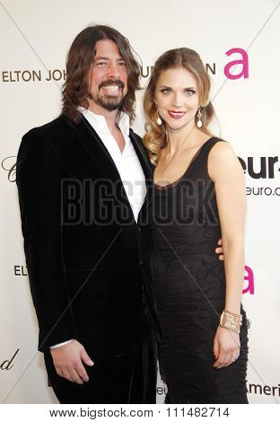 Dave Grohl and Jordyn Groh at the 21st Annual Elton John AIDS Foundation Academy Awards Viewing Party held at the Pacific Design Center in West Hollywood on February 24, 2013.
