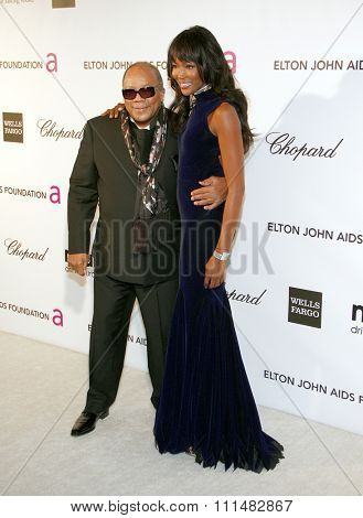 Naomi Campbell and Quincy Jones at the 21st Annual Elton John AIDS Foundation Academy Awards Viewing Party held at the Pacific Design Center in West Hollywood on February 24, 2013.