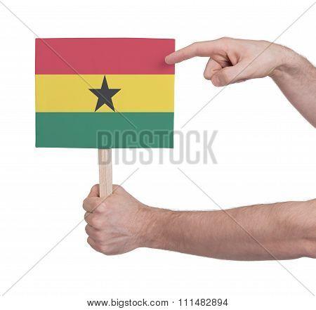 Hand Holding Small Card - Flag Of Ghana