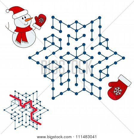 Snowman search the way. Kid maze game.