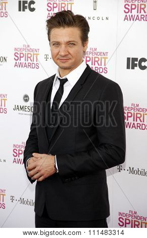 Jeremy Renner at the 2013 Film Independent Spirit Awards held at the Santa Monica Beach in Los Angeles, United States, 230213.