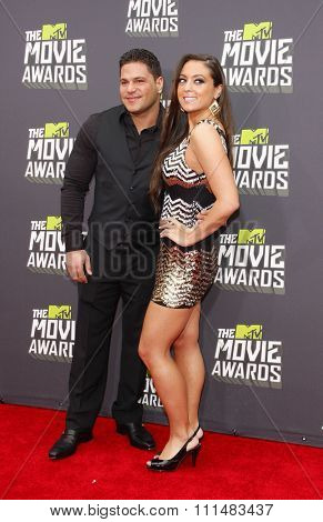 Sammi Giancola and Ronnie Ortiz-Magro at the 2013 MTV Movie Awards held at the Sony Pictures Studios in Los Angeles, United States, 140413.