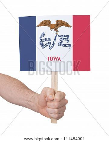 Hand Holding Small Card - Flag Of Iowa