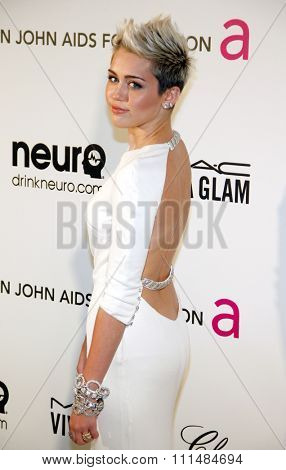 Miley Cyrus at the 21st Annual Elton John AIDS Foundation Academy Awards Viewing Party held at the Pacific Design Center in West Hollywood on February 24, 2013.