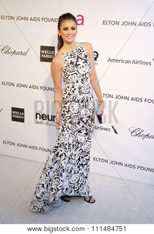 Nina Dobrev at the 21st Annual Elton John AIDS Foundation Academy Awards Viewing Party held at the Pacific Design Center in West Hollywood on February 24, 2013.