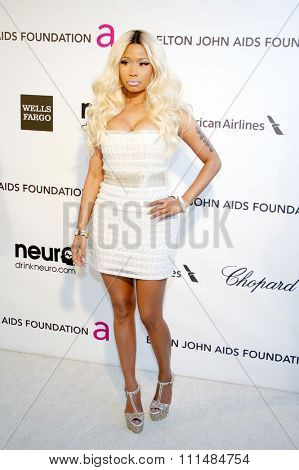 Nicki Minaj at the 21st Annual Elton John AIDS Foundation Academy Awards Viewing Party held at the Pacific Design Center in West Hollywood on February 24, 2013.