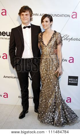 Emma Roberts and Evan Peters at the 21st Annual Elton John AIDS Foundation Academy Awards Viewing Party held at the Pacific Design Center in West Hollywood on February 24, 2013.
