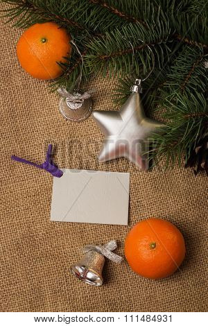 Postcard, Mandarines, Fir-cones, Christmas Decorations