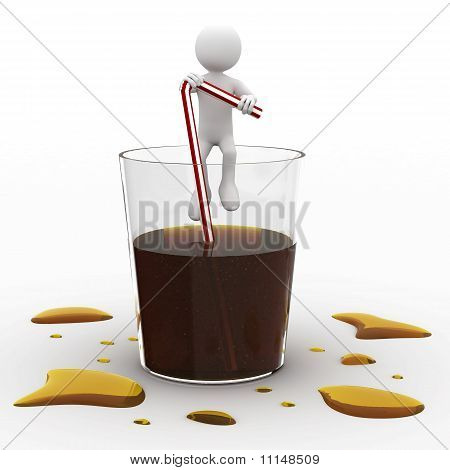 Man sitting in a giant glass of cola