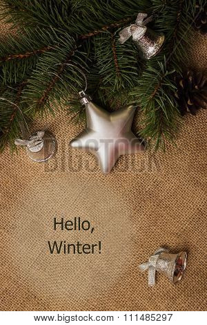 Tag Hello Winter, Fir-cones, Christmas Decorations