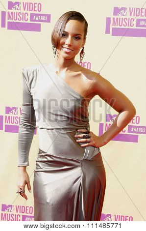 Alicia Keys at the 2012 MTV Video Music Awards held at the Staples Center in Los Angeles, United States on September 6, 2012.