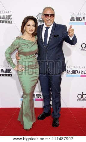 Gloria Estefan and Emilio Estefan at the 40th Anniversary American Music Awards held at the Nokia Theatre L.A. Live in Los Angeles, United States, 181112.