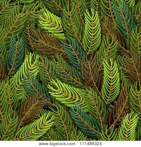 Seamless Spruce Pattern. Military Background. Army Structure From Spruce Branches. Protective Clothi