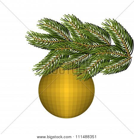 Green Lush Spruce And Gold Ball Ornament For Christmas And New Year. Holiday Tree.