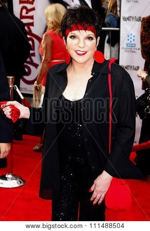 Liza Minnelli at the 2012 TCM Classic Film Festival Gala Screening of 'Cabaret' held at the Grauman's Chinese Theater in Hollywood on April 12, 2012.