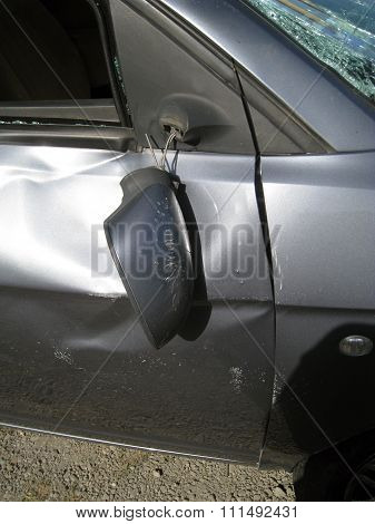 Car External Crashed,broken Rear-view Mirror And Body