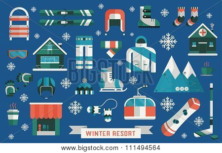 Winter Resort Sports Gear Icon Set