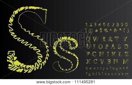 Decorative capital and small letters. Eps10. Global colors. Gradients free.