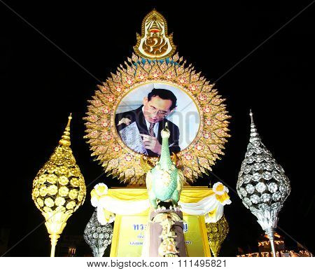 Bangkok - December 7: Decoration On Rachadamnoen Road For The Celebration Of The 88Th Birthday Of Hm