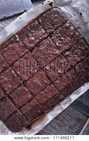 Homemade chocolate brownies top view.