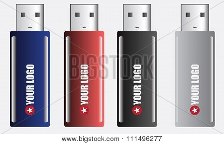 Multi-colored flash drive with place for your logo