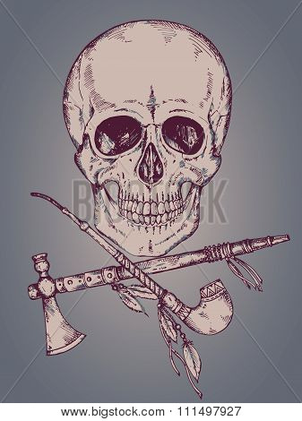 Hand Drawn Vector Illustration With Human Skull, Tomahawk And Calumet