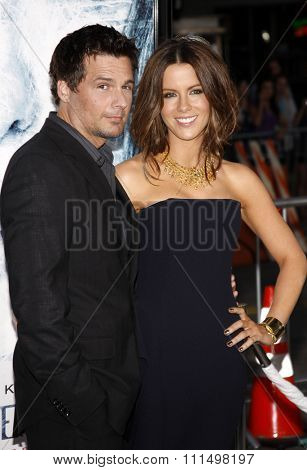 Kate Beckinsale and Len Wiseman at the Los Angeles premiere of 'Whiteout
