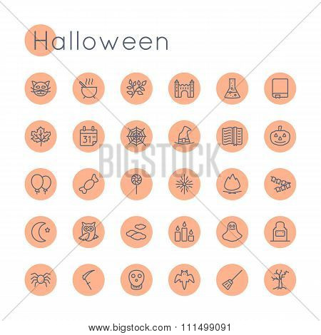 Vector Round Halloween Icons