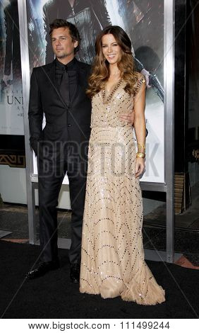 Kate Beckinsale and Len Wiseman at the Los Angeles premiere of 'Underworld Awakening' held at the Grauman's Chinese Theatre in Hollywood on January 19, 2012.