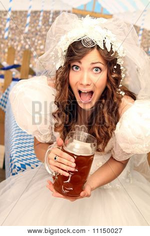 bride with beer