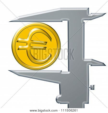 Yellow Euro coin and caliber .