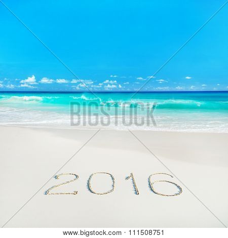 Tropical Beach With 2016 Year Sand Caption. Season Vacation Concept.