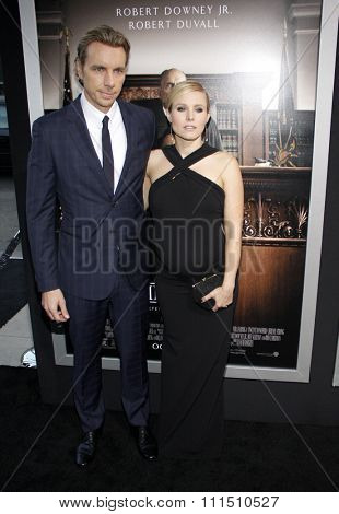 Dax Shepard and Kristen Bell at the Los Angeles premiere of 'The Judge' held at the AMPAS Samuel Goldwyn Theater in Los Angeles on October 1, 2014.