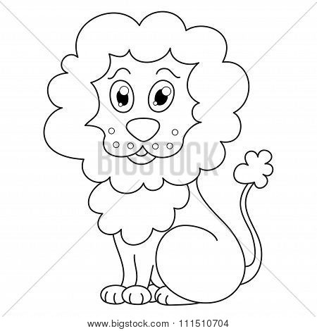 Curly cartoon lion with fluffy mane and kind muzzle