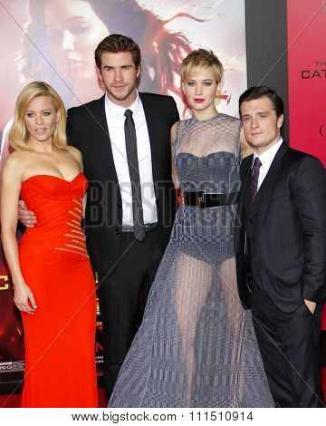 Liam Hemsworth, Elizabeth Banks, Jennifer Lawrence and Josh Hutcherson at the Los Angeles premiere of