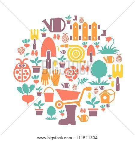 round card with gardening design elements