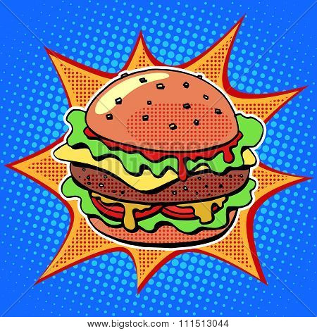 Fast food Burger with sesame meat salad and cheese
