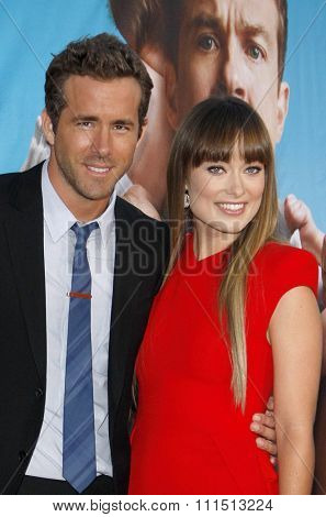 Olivia Wilde and Ryan Reynolds at the Los Angeles premiere of 'The Change-Up' held at the Regency Village Theatre in Westwood on August 1, 2011.