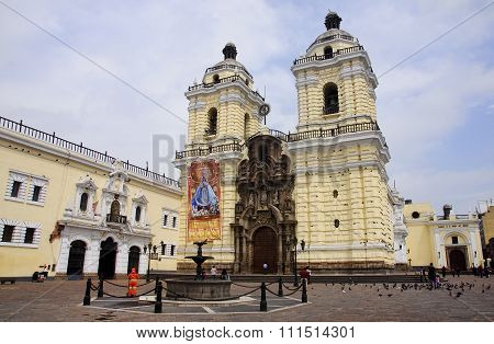 Lima, Peru - December 2, 2015:  San Francisco Church On 2 Decemb