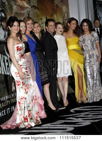 Zack Snyder, Carla Gugino, Jena Malone, Abbie Cornish, Emily Browning, Jamie Chung and Vanessa Hudgens at the LA premiere of 'Sucker Punch' held at the Chinese Theater in Hollywood on March 23, 2011.