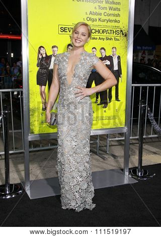 Abbie Cornish at the Los Angeles premiere of 'Seven Psychopaths' held at the Mann Bruin Theatre in Westwood on October 1, 2012.