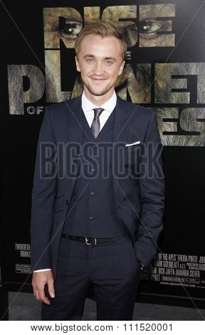 Tom Felton at the Los Angeles premiere of 'Rise of The Planet Of The Apes' held at the Grauman's Chinese Theater in Hollywood on July 28, 2011.