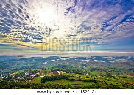 Morning Fog In Green Hills Aerial View