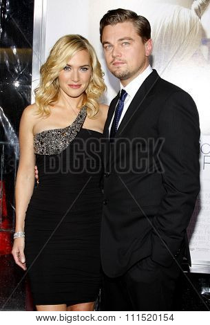 Kate Winslet and Leonardo DiCaprio at the Los Angeles premiere of 'Revolutionary Road' held at the Mann Village Theater in Westwood on December 15, 2008.