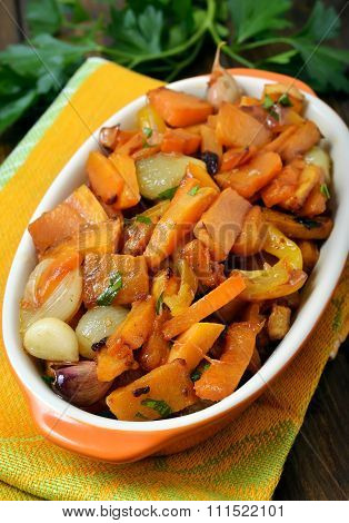Stewed Vegetables In Ceramic Bowl