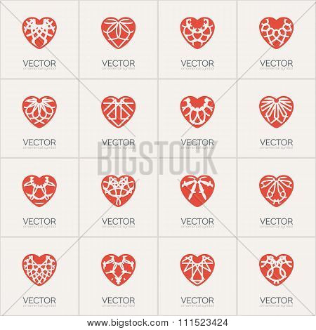 Vector Ornamental Hearts Logos