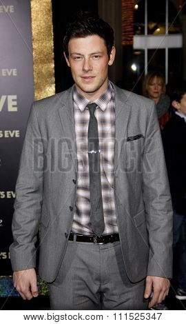 Cory Monteith at the Los Angeles premiere of 'New Year's Eve' held at the Grauman's Chinese Theatre in Hollywood on December 5, 2011.