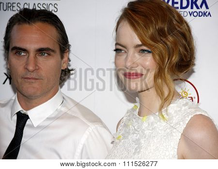 Emma Stone and Joaquin Phoenix at the Los Angeles premiere of 'Irrational Man' held at the WGA Theatre in Beverly Hills, USA on July 9, 2015.