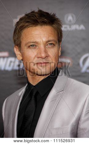 Jeremy Renner at the Los Angeles premiere of 'Marvel's The Avengers' held at the El Capitan Theatre in Los Angeles on April 11, 2012.